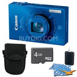 PowerShot ELPH 520 HS Blue 10.1 MP CMOS Digital Camera 12x Zoom 4 GB Bundle