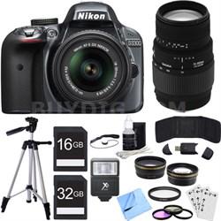 D3300 DSLR 24.2 MP HD 1080p Camera w/ 18-55mm + 70-300mm Lens Grey Bundle
