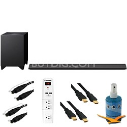 330W 2.1ch Sound Bar with Wireless Subwoofer Plus Hook-Up Bundle - HT-CT770