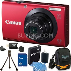 PowerShot A3400 IS 16MP Red Digital Camera 8GB Bundle