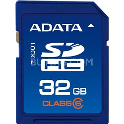 32 GB Secure Digital High-Capacity (SDHC) Class 6 - { ASDH32GCL6-R }