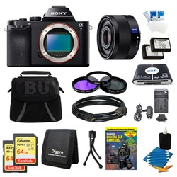 Alpha 7 a7 Digital Camera, 35mm Lens, 2 64 GB SDXC Cards, 2 Batteries Bundle