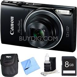 Powershot ELPH 350 HS Black Digital Camera and 8GB Card Bundle