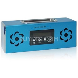 Battery Powered Speaker with iPhone or iPod Dock & USB Input - Blue