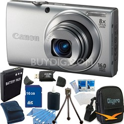 PowerShot A4000 IS 16MP Silver Digital Camera 16GB Bundle