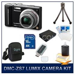 DMC-ZS7K LUMIX 12.1 MP Digital Camera (Black), 16GB SD Card, and Camera Case