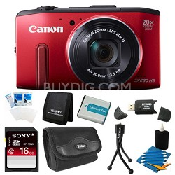 PowerShot SX280 HS Red Digital Camera 16GB Bundle