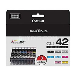 CLI-42 ChromaLife 100+ 8 Pack Ink Catridges for PIXMA PRO 100 Printer