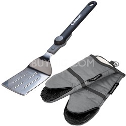 Folding Spatula (16-Inch) and 2 Pack Oven Mitt w/ Silicone Grip (Grey) Bundle