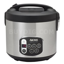 20 Cup Black & Stainless Cool TouchDigital Rice Cooker & Food Steamer
