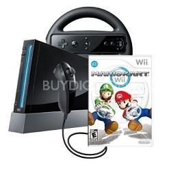 Black Wii Console w/Mario Kart  -  RVLSKABC