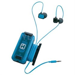 Black/Blue Fitness Earbuds with Clip-On LED Safety Flasher & Cord Wrap - iB12BL