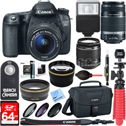 EOS 70D CMOS DSLR Camera 18-55mm & 55-250mm Dual Lens Bundle &  Accessory Kit