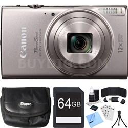 PowerShot ELPH 360 HS Silver Digital Camera w/ 12x Optical Zoom 64GB Card Bundle