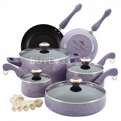 Signature Porcelain Nonstick 15-Piece Cookware Set - Lavender Speckle