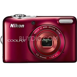 COOLPIX L30 20.1MP 5x Opt Zoom HD 720p Video Digital Camera - Red