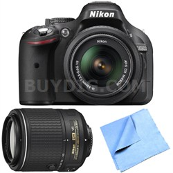 D5200 24.1MP DSLR Camera with 18-55mm VR + 55-200mm Lens - Factory Refurbished