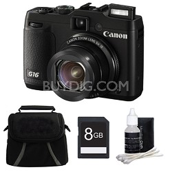 PowerShot G16 12.1 MP Digital Camera 8GB Kit