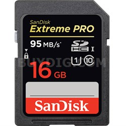 Extreme PRO SDHC 16GB UHS-1 Memory Card, Up to 95/90MB/s Read/Write Speed