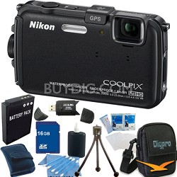COOLPIX AW100 16MP Waterproof Shockproof Freezeproof Black Camera 16GB Bundle