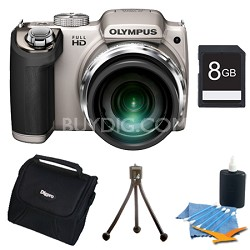 SP-720UZ 14MP 26x Opt Zoom 3-Inch LCD Digital Camera Silver Plus 8 GB Memory Kit