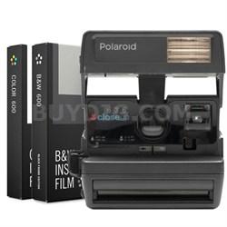 Polaroid 600 Square Camera Black +Built-In Flash w/ Dual Film Bundle