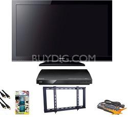 "KDL40BX450 - 40"" 1080p LCD HDTV Blu Ray Bundle"