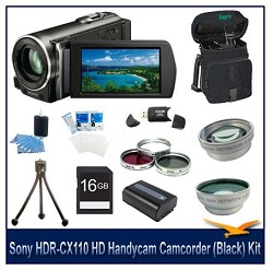 HDR-CX110 HD Handycam Camcorder(Black) With 16GB Memory  card, Case, and more