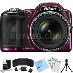 COOLPIX L830 16MP Digital Camera w/ 34x Optical Zoom (Plum) Refurbished Bundle