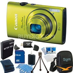 PowerShot ELPH 310 HS 12MP Green Digital Camera 16GB Bundle