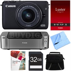 EOS M10 Mirrorless Camera w/ EF-M 15-45mm f/3.5-6.3 IS STM Lens Printer Bundle