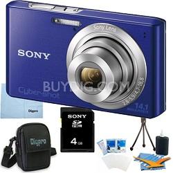 Cyber-shot DSC-W610 Blue 4GB Digital Camera Bundle