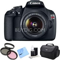 EOS Rebel T5 1200D 18MP DSLR Camera 18-55mm EF-S Lens Bag Filter 4pc Kit