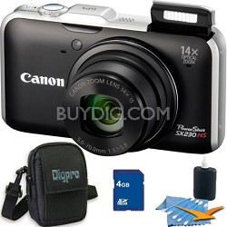 PowerShot SX230 HS Black Digital Camera 4GB Bundle