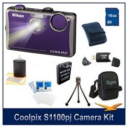 COOLPIX S1100pj Violet Digital Camera 16GB Kit w/ Reader, Case, Battery, & More