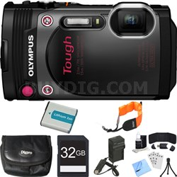TG-870 Waterproof 16MP Black Digital Camera 32GB SDHC Memory Card Deluxe Bundle