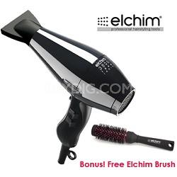 "Bundle 3800 Idea Ionic Hair Dryer in Black + Free Elchim 1-3/4"" Round Brush"