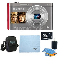 4 GB Bundle DV300F 16 MP 5X Wi-Fi Digital Camera - Silver/Red