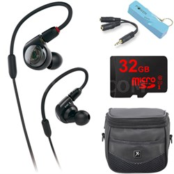 ATH-E40 Professional In-Ear Monitor Headphones Portable Power Bank Bundle