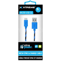 Mesh Sync & Charge 6ft Micro USB Cable (Blue) - 92392
