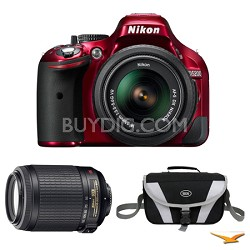 D5200 DX-Format Red Digital SLR Camera with 18-55mm and 55-200mm VR Lens Bundle