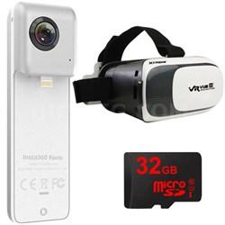 Nano 360 Dual Lens VR Camera for iPhone 6/7 w/ VR Vue II & 32GB MicroSD Bundle