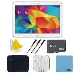 "Galaxy Tab 4 White 16GB 10.1"" Tablet, 32GB Card, and Case Bundle"