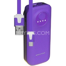 5200mAh Neon Power Battery Bank with USB Charging Cable in Purple