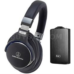 SR7 SonicPro Over-Ear High-Resolution Headphones w/ FiiO A3 Amplifier, Black