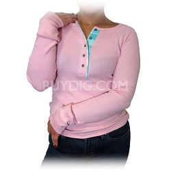 Women's Button Top Thermal Shirt - Pink (Size: Medium)