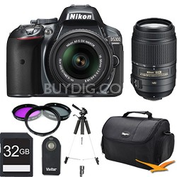 D5300 DX-Format Digital SLR Kit (Grey) w 18-55mm & 55-300mm VR Lens 32GB Bundle
