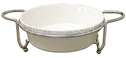 Super White Ceramic Serveware With Caddy Round 9'