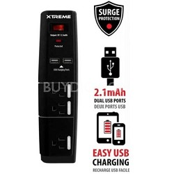 3 Outlet Surge Protector with Dual 2.1 amp USB Ports