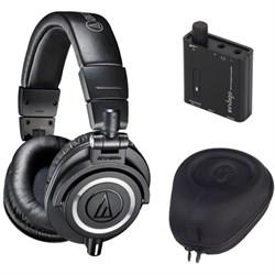 ATH-M50X Professional Studio Black Headphone w/ Slappa Case + Indigo Amp Bundle